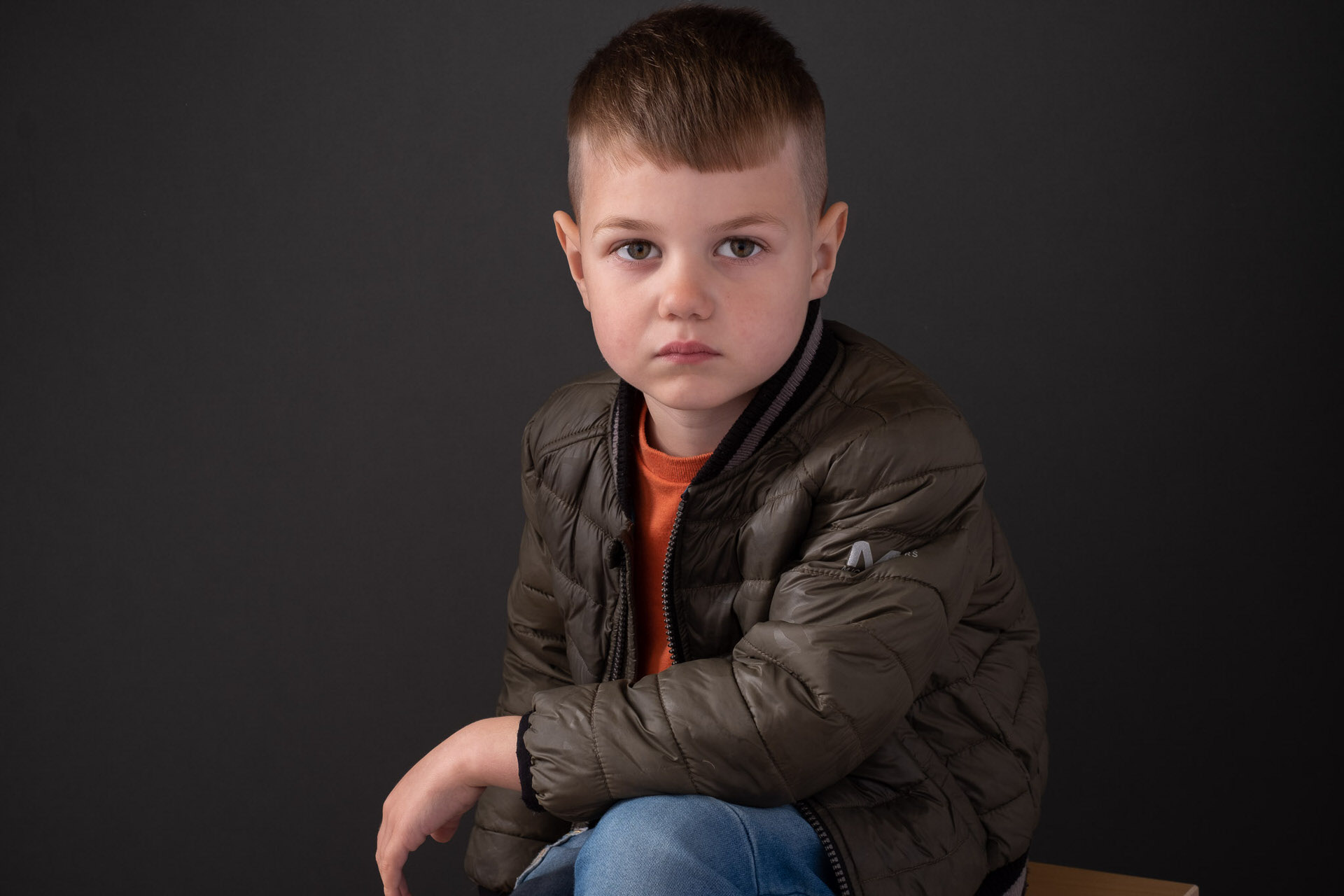 Studio portrait of little boy