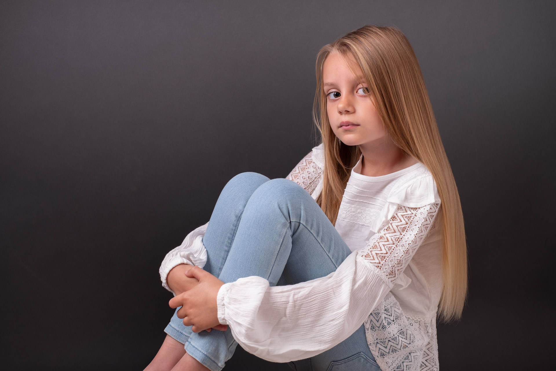 portrait photo of girl in studio