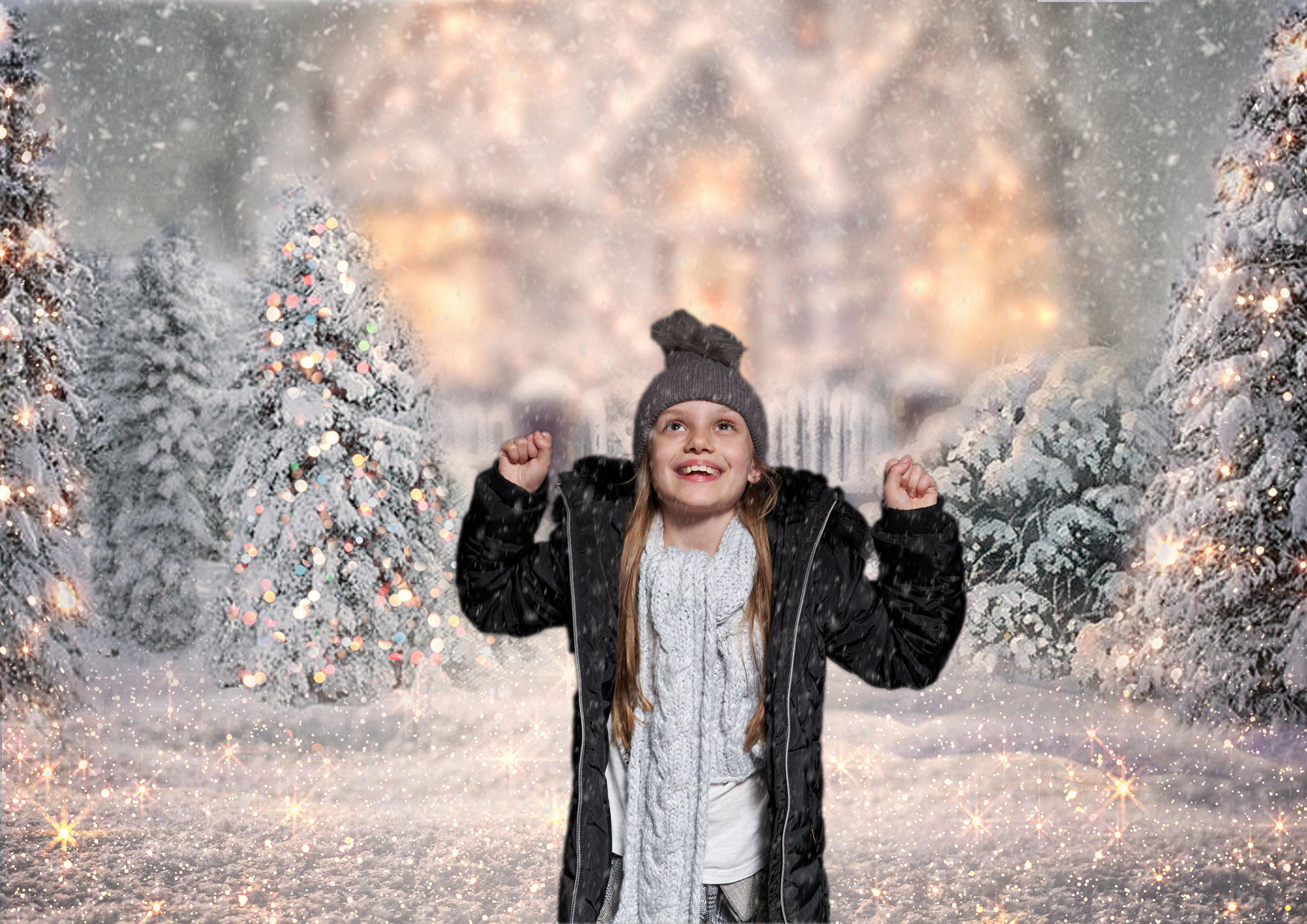 child exceited in Christmas snowing scene